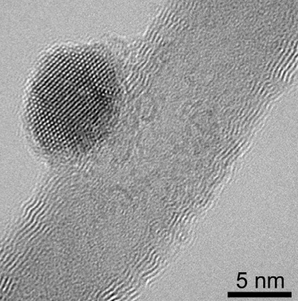 HRTEM of MWCNT with Fe3O4 particle